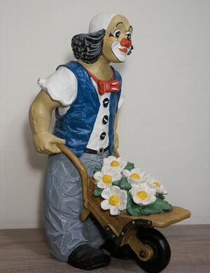 35512-1   Clown mit Schubkarre und Blumen   1995