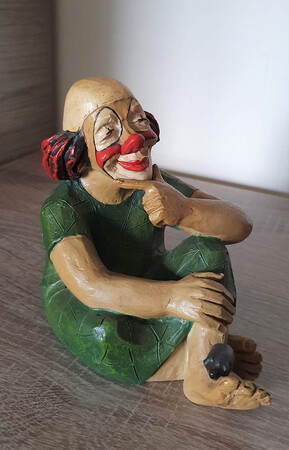 14115   Clown mit Maus auf Fuß, mit roter Gesichtsmaske   1988