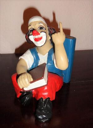35176-1   Buchstütze, denkender Clown   1988